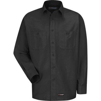 Wrangler® Men's Canvas Long Sleeve Work Shirt Charcoal Regular-M-WS10CHRGM