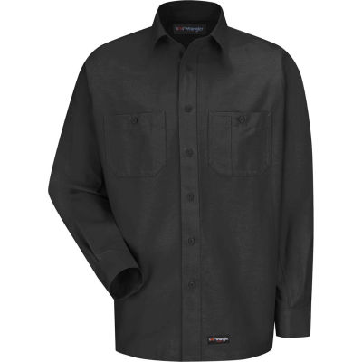 Wrangler® Men's Canvas Long Sleeve Work Shirt Charcoal Regular-XL-WS10CHRGXL
