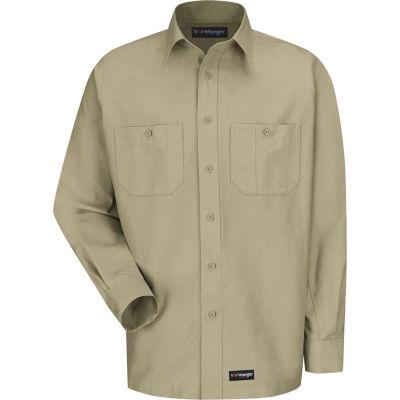 Wrangler® Men's Canvas Long Sleeve Work Shirt Khaki Regular-3XL-WS10KHRG3XL