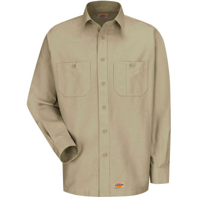 Wrangler® Men's Canvas Long Sleeve Work Shirt Khaki Regular-XL-WS10KHRGXL