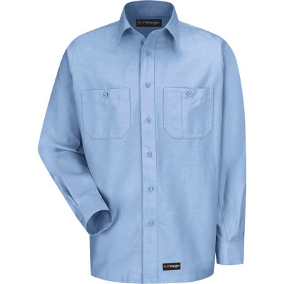 Wrangler® Men's Canvas Long Sleeve Work Shirt Light Blue Regular-M-WS10LBRGM