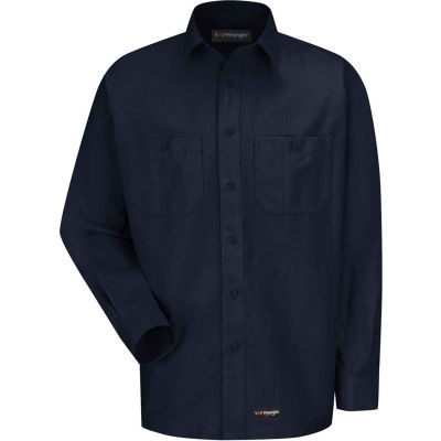 Wrangler® Men's Canvas Long Sleeve Work Shirt Navy Regular-4XL-WS10NVRG4XL