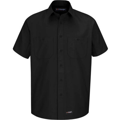 Wrangler® Men's Canvas Short Sleeve Work Shirt Black Long-2XL-WS20BKSSLXXL