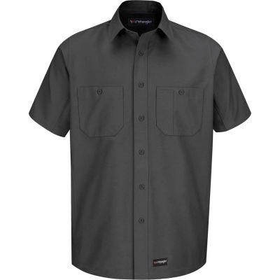 Wrangler® Men's Canvas Short Sleeve Work Shirt Charcoal Long-L-WS20CHSSLL