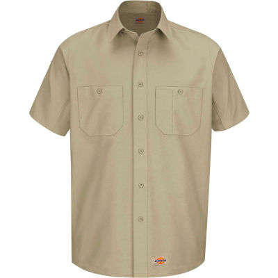 Wrangler® Men's Canvas Short Sleeve Work Shirt Khaki Long-XL-WS20KHSSLXL