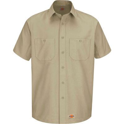 Wrangler® Men's Canvas Short Sleeve Work Shirt Khaki M-WS20KHSSM