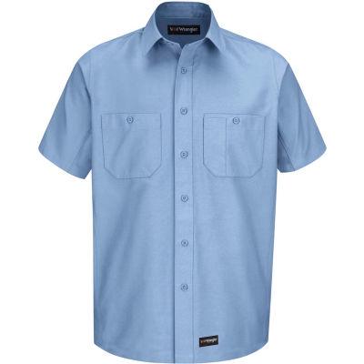Wrangler® Men's Canvas Short Sleeve Work Shirt Light Blue Long-L-WS20LBSSLL