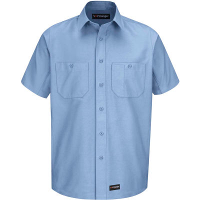 Wrangler® Men's Canvas Short Sleeve Work Shirt Light Blue XL-WS20LBSSXL