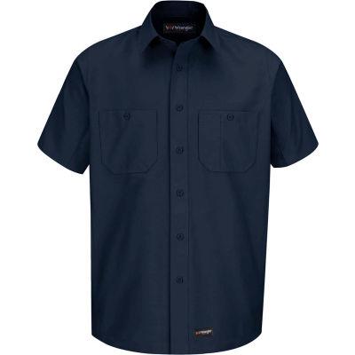 Wrangler® Men's Canvas Short Sleeve Work Shirt Navy Long-L-WS20NVSSLL