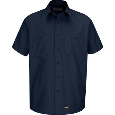 Wrangler® Men's Canvas Short Sleeve Work Shirt Navy S-WS20NVSSS