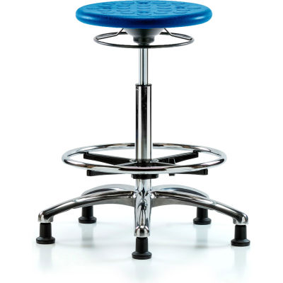 Blue Ridge Ergonomics™ Cleanroom Stool with Glides and Footring - High Bench Height - Blue
