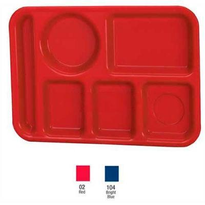 Vollrath, Traex Polypropylene School Compartment Trays, 2614-04, Left Hand Tray, Bright Blue - Pkg Qty 24