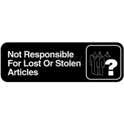 """Vollrath, Not Responsible For Lost Or Stolen Articles Sign, 4532, 3"""" X 9"""""""