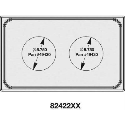 Vollrath, Miramar Cookware Single Size Template, 8242216, Two Small Round, Stainless, Satin Edge