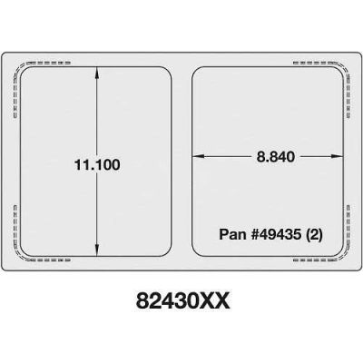 Vollrath, Miramar Cookware Single Size Template, 8243014, Two Small Food Pan, Stainless, Plain Edge