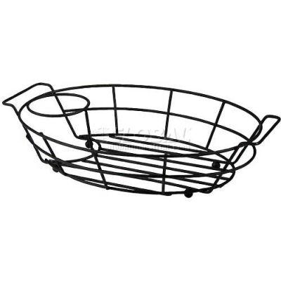 "Vollrath, Oval Basket W/ Ramekin Holder, WB-8007-06, Black, 7-1/8"" X 10-1/2"" - Pkg Qty 12"