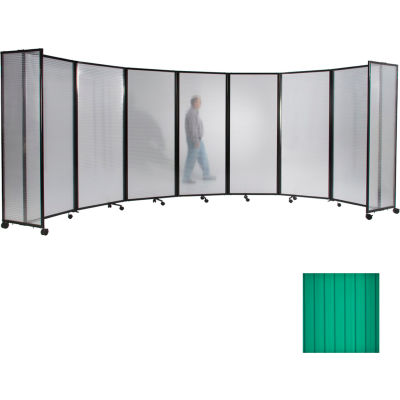 Portable Mobile Room Divider, 5'x14' Polycarbonate, Green