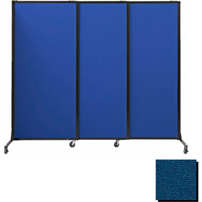 """Portable Acoustical Partition Panels, Sliding Panels, 70""""x7' Fabric, With Casters, Navy Blue"""