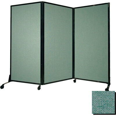 "Portable Acoustical Partition Panel, AWRD  80""x8'4"" Fabric, With Casters, Blush Green"