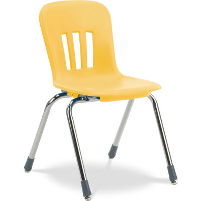 """Virco® N916 The Metaphor® Stacking Chair 16"""", Yellow With Chrome - Pkg Qty 4"""