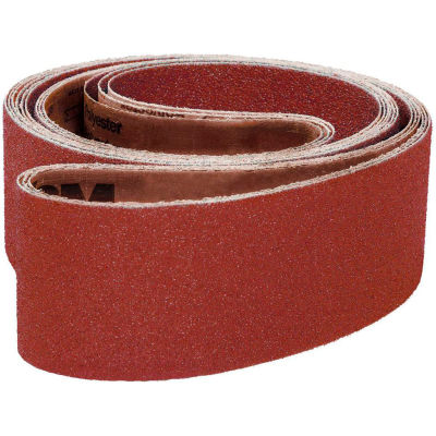 "VSM Abrasive Belt, 21417, Aluminum Oxide, 4"" X 24"", 100 Grit - Pkg Qty 10"