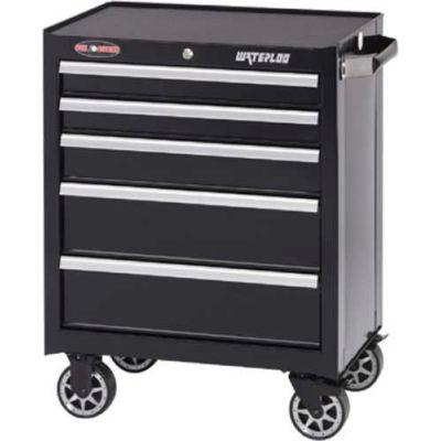 """Waterloo WCA-265BK Waterloo Series 26-1/2""""W X 18""""D X 34-1/2""""H 5 Drawer Black Roller Cabinet"""