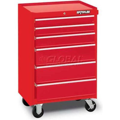 """Waterloo WCA-266RD Waterloo Series 26-1/2""""W X 18""""D X 40-3/4""""H 6 Drawer Red Roller Cabinet"""