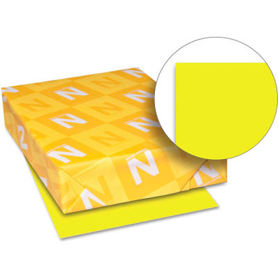 """Neenah Paper Astrobrights Colored Card Stock 21021, 8-1/2"""" x 11"""", Lift-Off Lemon™, 250/Pack"""