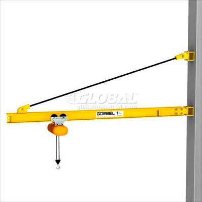 Gorbel® HD Wall Bracket Jib Crane, 10' Span & 200° Rotation, 4000 Lb Capacity