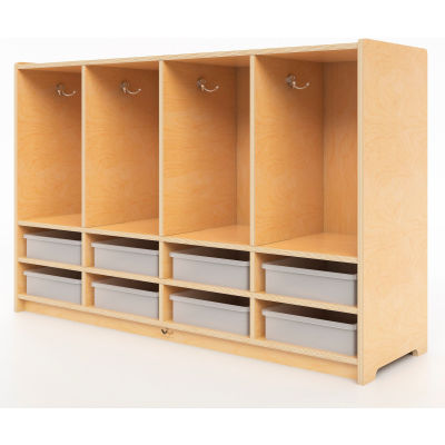 Whitney Brothers Toddler 8-Section Coat Locker with Trays - Natural