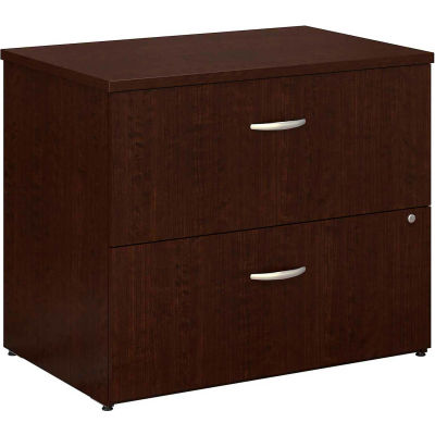 Bush Furniture Lateral File Cabinet, 2 Drawer with Double Handle Pulls - Mocha Cherry - Series C