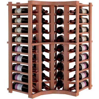 Individual Bottle Wine Rack - Curved Corner, 4 ft high - Mahogany, All-Heart Redwood