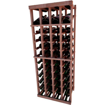 Individual Bottle Wine Rack - 4 Column W/Top Display, 4 ft high - Mahogany, All-Heart Redwood