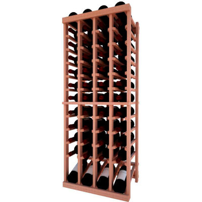 Individual Bottle Wine Rack - 4 Column W/Lower Display, 4 ft high - Mahogany, All-Heart Redwood