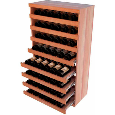 Bulk Storage, Pull Out Wine Bottle Cradle, 8-Drawer 3 Ft high - Mahogany, All-Heart Redwood