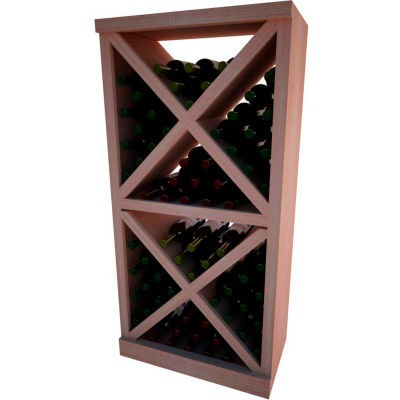 Diamond Solid Cube Wine Rack - w/Face Trim, 4 ft high - Unstained All-Heart Redwood