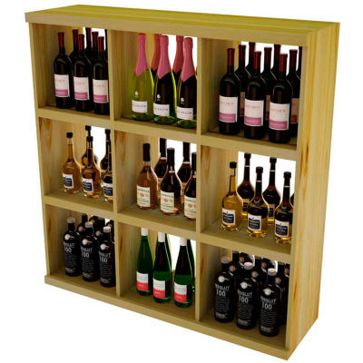Bulk Storage, Stackable Wine Bottle Shelf, 9-Opening 4 Ft high - Walnut, Pine