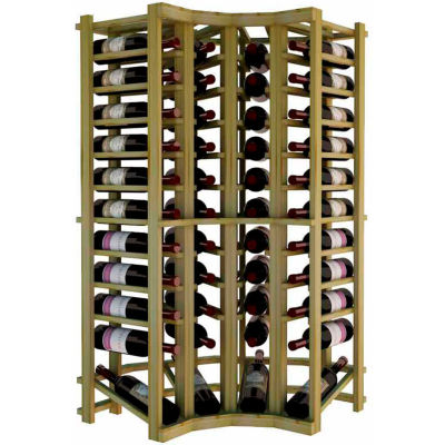 Individual Bottle Wine Rack - Curved Corner W/Lower Display, 4 ft high - Walnut, Pine
