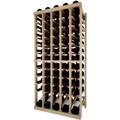 Individual Bottle Wine Rack - 5 Column W/Lower Display, 4 ft high - Black, Pine