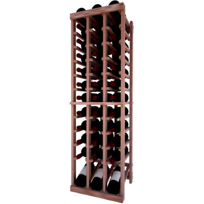 Individual Bottle Wine Rack - 3 Column W/Lower Display, 4 ft high - Walnut, Mahogany