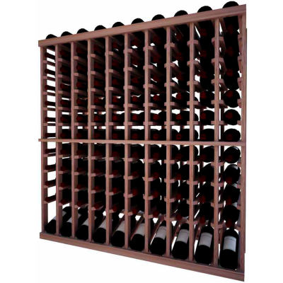 Individual Bottle Wine Rack - 10 Column W/Lower Display, 4 ft high - Unstained Mahogany