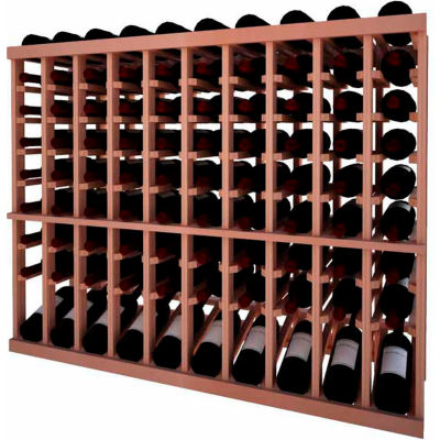 Individual Bottle Wine Rack - 10 Column W/Lower Display, 3 ft high - Mahogany, All-Heart Redwood