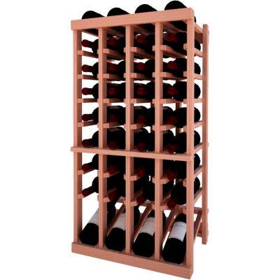 Individual Bottle Wine Rack - 4 Column W/Lower Display, 3 ft high - Light, All-Heart Redwood