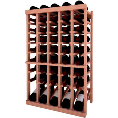 Individual Bottle Wine Rack - 5 Column W/Lower Display, 3 ft high - Light, All-Heart Redwood
