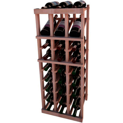 Individual Bottle Wine Rack - 3 Column W/Top Display, 3 ft high - Black, All-Heart Redwood