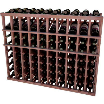 Individual Bottle Wine Rack - 10 Column W/Top Display, 3 ft high - Unstained All-Heart Redwood