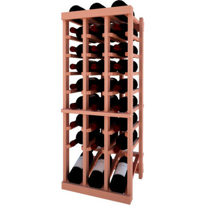 Individual Bottle Wine Rack - 3 Column W/Lower Display, 3 ft high - Unstained All-Heart Redwood