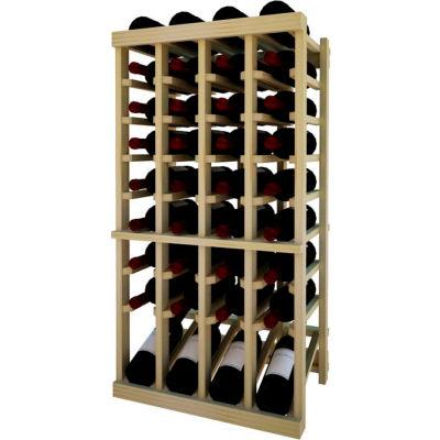 Individual Bottle Wine Rack - 4 Column W/Lower Display, 3 ft high - Light, Pine