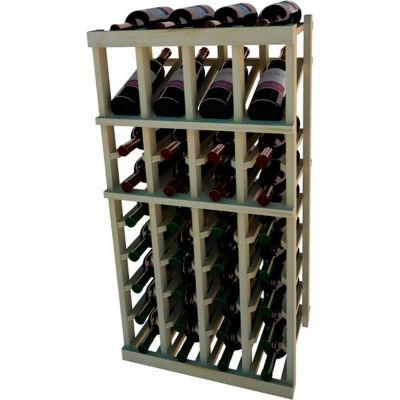 Individual Bottle Wine Rack - 4 Column W/Top Display, 3 ft high - Black, Pine