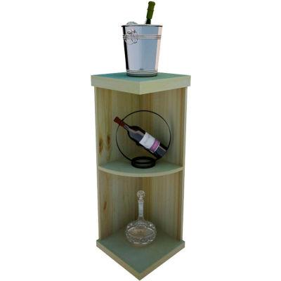 Bulk Storage, Quarter-Round Wine Bottle Shelf, 3-Shelf, 3 Ft high - Black, Pine